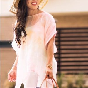 PureJill Linen Pastel Oversized Cover Up Poncho